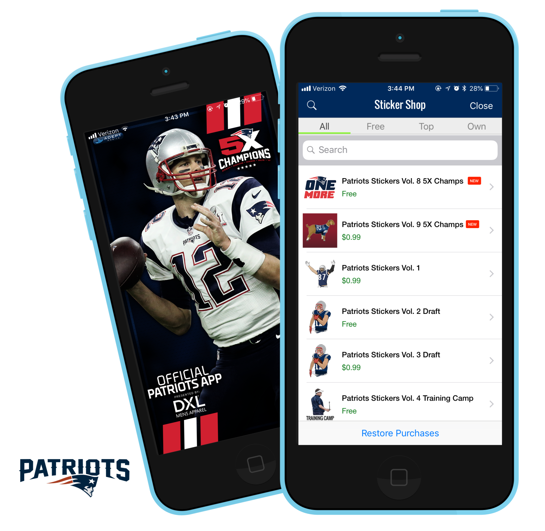 nfl patriots photo editing sticker sharing app
