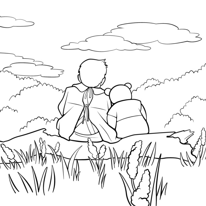 Christopher Robin Coloring Book Page