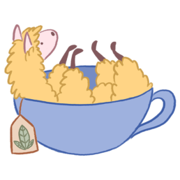 Oolong the Llama in a cup