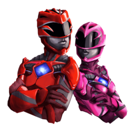 Red and Pink Power Ranger Sticker